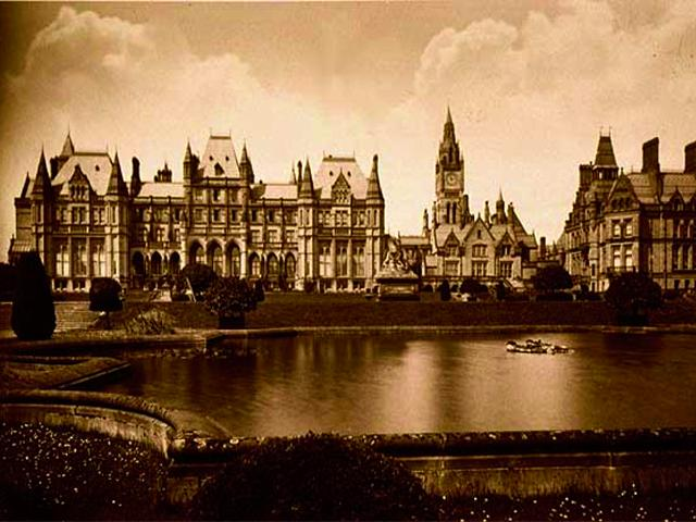 """Eaton Hall, East Front."" Albumen print, circa 1880 wallpaper"