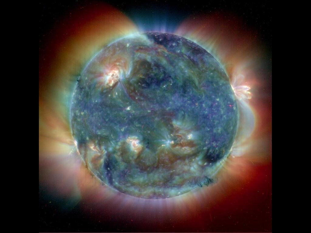 Sun from EIT instrument on SOHO observatory wallpaper