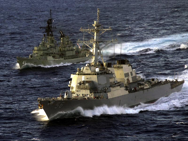 HMAS Brisbane and USS McCain wallpaper