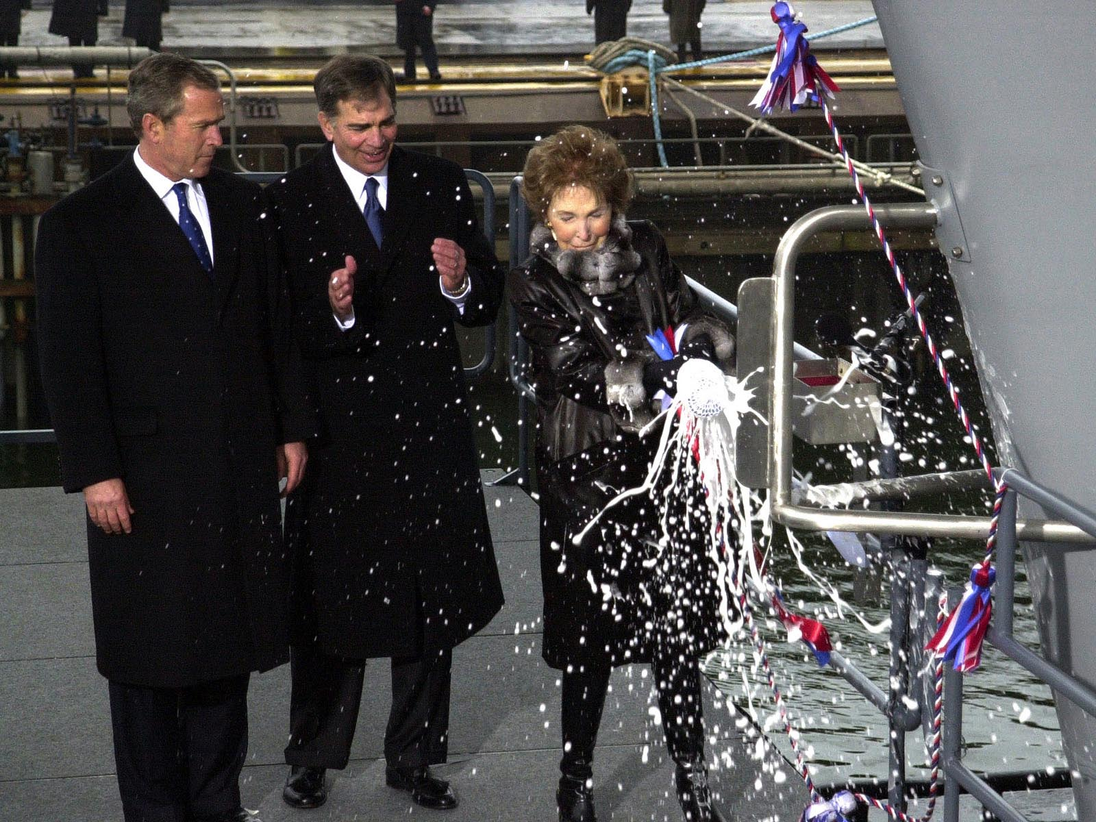 Nancy Reagan christens USS Reagan wallpaper