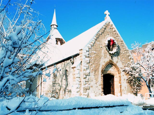 Winter at St. Joan of Arc Chapel wallpaper