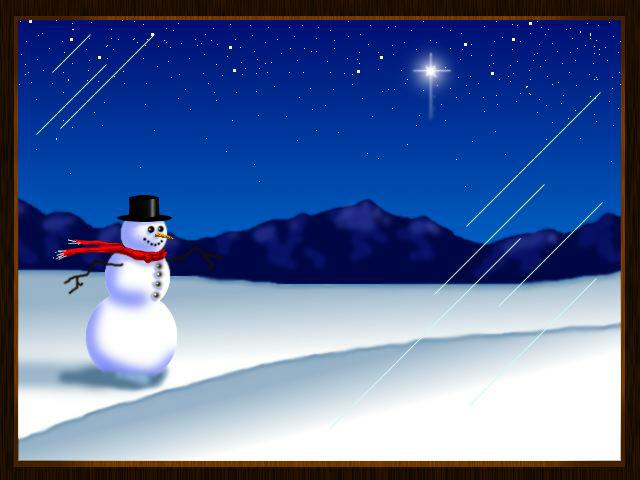 Snowman and a Christmas Star Poster